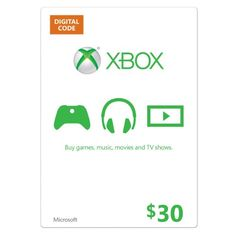 Xbox Live $30 Gift Card [Online Game Code], 2015 Amazon Top Rated Points & Currency Cards #DigitalVideoGames