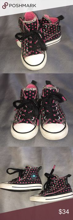 Converse Black w/ Pink Polka Dots Hightop's Converse Black w/ Pink Polka Dots Hightop's. Well loved with a lot of life left in them. They Velcro on the sides for easy on and off. You can also tie and untie them. They have some wear marks and the laces have some piling. Checkout my other listings and add to a bundle to save! Converse Shoes Sneakers