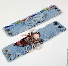 """Купить Браслет Манжет джинсовый в стиле бохо хиппи """"Клетчатая роза"""" - голубой, браслет"""