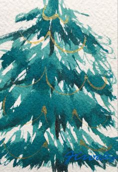 By Jeanette Crooks Watercolor Christmas Art, Christmas Tree, Teal Christmas Tree, Xmas Trees, Christmas Trees, Xmas Tree