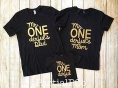 Mr. ONEderful's Mom, Mr. ONEderful's Dad, Team ONEderful, Baby boy first birthday shirt