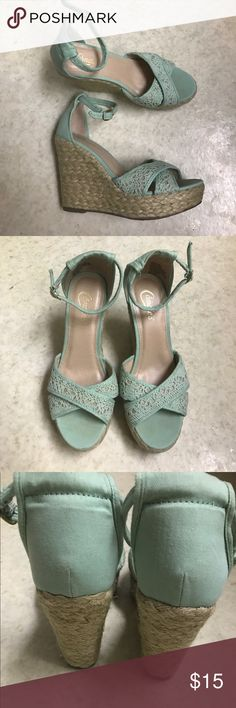 Mint lace wedges size 8.5 Wedges in amazing condition, only wore once or twice! Add a great pop of color to your outfit with these shoes:) No trades! Have questions🤔 or want more photos📷, feel free to ask!! Thanks for stopping by🤗 Candie's Shoes Wedges