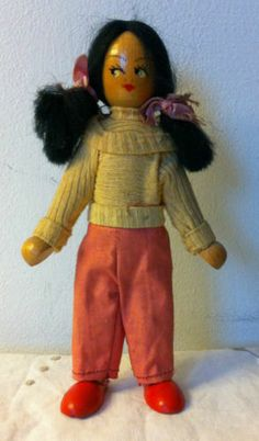 Vintage Polish Wooden Jointed Peg Doll 1960s 1970s Poland toy | eBay
