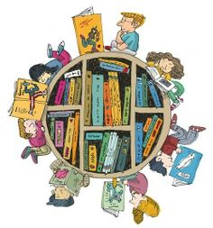 The Library, a world of books to share. Illustration by David Pintor I Love Books, Books To Read, My Books, Book Illustration, Illustrations, Reading Art, Kids Reading, World Of Books, Book Images