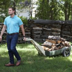 The Simplay3 Easy Haul Flat Bed Cart pulls extra heavy loads (over 200 lbs.!) like fire wood and other yard and garden items from around the home.
