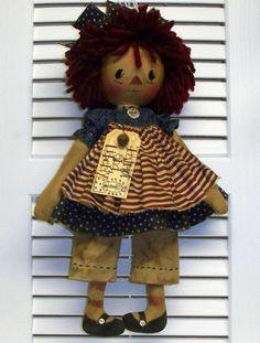 Primitive USA Raggedy Annie Doll Folk Art Flag Ornie Rusty Pin and Bell Hang Tag