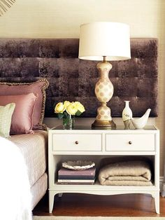 Pairing Antiques With Modern Furniture Styles - Places in the Home Large Bedside Tables, Bedside Table Styling, Furniture Styles, Modern Furniture, Stylish Bedroom, Decoration, Home And Family, Young Family, Home Staging
