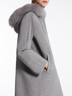 Max Mara LATTE medium grey: Wool and angora parka.