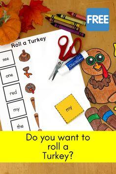 Roll a Turkey:  Thanksgiving Activity