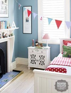 This paint – Wattyl in Dirty Denim – was chosen to match with the dusk rose of the eiderdown and the bunting adds a fun, girly touch. Bedroom Wall Colors, One Bedroom, Kids Bedroom, Bedroom Decor, Kids Rooms, Bedroom Ideas, Bedroom Interiors, Nursery Ideas, Kids Decor