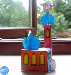 """too cute paper masjid, we will make these next year as """"zakat boxes"""" to save donations in!"""