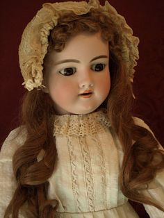 "Antique Handwerck Doll 27"" tall Beautiful Brown Eyes Sweet Antique Bonnet"