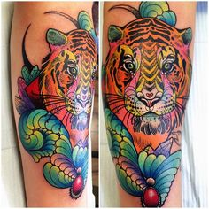 a different angle of Dallas' tiger, sorry for the repost  #tigertattoo #cattoo