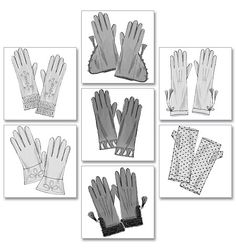 Butterick Sewing Pattern Seven Pairs of Historical Gloves Jane Austen, Costume Patterns, Sewing Patterns, Clothing Patterns, Gauntlet Gloves, Knitted Gloves, Women's Gloves, Fingerless Gloves, Bead Caps