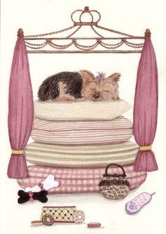 Pampered Yorkshire Terrier (yorkie) / Lynch signed folk art print. $12.99, via Etsy.