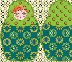 coussin_poupée_russe_vert fabric by nadja_petremand on Spoonflower - custom fabric