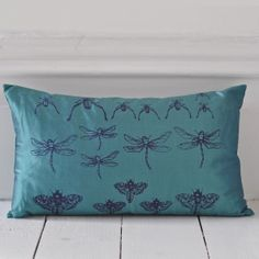 Archive Cushion by Clementine and Bloom - Aquamarine - Anecdotes Design Bed Pillows, Cushions, Hand Printed Fabric, Butterfly Design, Cushion Pads, Mid Century Modern Furniture, Handmade Wooden, Soft Furnishings, Mid-century Modern