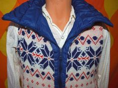 vintage ski vest reversible 80s blue quilted puffy by skippyhaha, $26.00