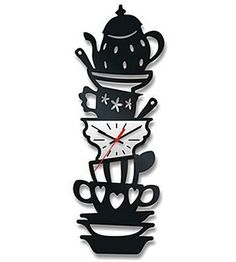 want this clock :) it's go great In a room made into a quiet library & it'd be alice and wonderland themed Clock Art, Clock Decor, Wall Decor, Coffee Theme Kitchen, Alice In Wonderland Room, Vynil, Kitchen Wall Clocks, Cool Clocks, Wooden Clock