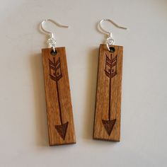 Cherry Wood Drop Earrings with Laser Engraved Hand Drawn Arrow by WoodWireWhimsyArt on Etsy
