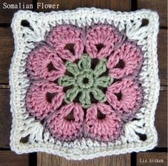 One Square At A Time: Block #44: Somalian Flower (with free pattern)