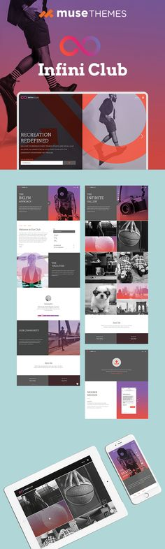 101 best adobe muse templates images on pinterest in 2018 adobe infini club is the perfect adobe muse template for a modern health club but can be customized for any business that needs bold color and prominent images maxwellsz