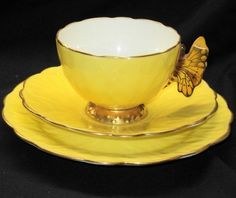 AYNSLEY CHINA ENGLAND BUTTERFLY HANDLE TEA CUP AND SAUCER TRIO