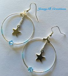 Boucles d'oreilles Créoles Argentées, Perles Swarovski et Perles Miyuki : Boucles d'oreille par jenny-b-creation