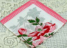 Vintage Hankie Gorgeous Pink Floral Bouquet  #D-45