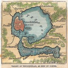 "Dunno about this original source, doesn't seem to me as a Spanish map, specially made from a expert in navigation, like Cortez, but here you have.  ""Map of 'The Valley of Tenochtitlan as seen by Cortez' published in 1869 by George F. Cram in Illinois""  in http://www.mexicolore.co.uk/"