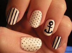 Black and white nautical nails