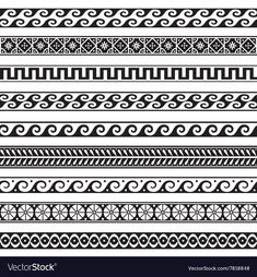 Find Old Greek Border Designs Vector Set stock images in HD and millions of other royalty-free stock photos, illustrations and vectors in the Shutterstock collection. Thousands of new, high-quality pictures added every day. Greek Drawing, Lace Drawing, Mandela Patterns, Band Tattoo Designs, Ink Pen Art, Greek Pattern, Vector Border, Old Greek, Ancient Greek Art