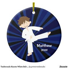 Taekwondo Karate White Belt Boy Personalized Ceramic Ornament