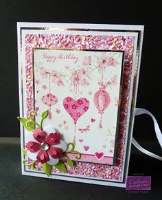 Chocolate Box card - Centura Pearl Card Topper and Backing Paper from Sugar and Spice CD - Die'sire Lace Bloom and Die'sire Forget Me Not - Die'sire Romantic Song Frame - Embossalicious Delicate Floral Folder A4 - Ribbon, Gems, Mirror Card - #crafterscompanion