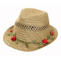 dab571c7fad Ladies Straw Trilby Hat Lovely pretty Garland Flower Band Detailing Flower  Band