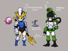 Megaman Splash Girl and Bubble Girl