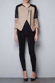 Zara Wool Jacket w/Faux Leather Jacket Looks Style, Looks Cool, Style Me, Look Fashion, Winter Fashion, Street Fashion, Style Feminin, Latest Fashion For Women, Womens Fashion