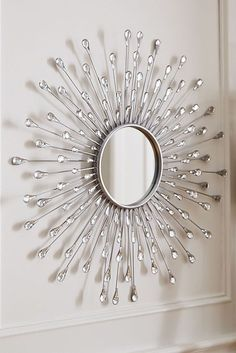 Perk up your home with the radiant reflection of Pier Natalie Sunburst Round Mirror. Crafted of cast iron and embellished with teardrop-shaped, acrylic crystals, our mirror makes a spectacular focal piece. And it looks just as stunning as you will in Silver Sunburst Mirror, Sun Mirror, Starburst Mirror, Mirror Art, Wall Mirrors, Mirror Ideas, Decoration Baroque, Home Engineering, Entryway Decor