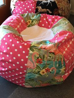 NEW Flamingos Green And Hot Pink Bean Bag Chair With Turtles Polka Dots Chenielle