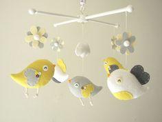 """Baby crib mobile, Bird mobile, felt mobile, nursery mobile, baby mobile,""""Bird - yellow and grey"""" on Etsy, $80.00"""