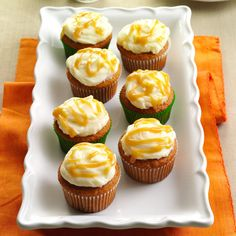 Autumn Pumpkin Cupcakes Recipe -These little cupcakes are capped with cream cheese frosting and drizzled with a homemade salted caramel sauce. They're soft and sweet. —Wendy Rusch, Trego, Wisconsin