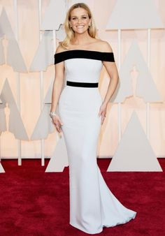 Reese Witherspoon. Would be into this sleek Tom Ford number if it wasn't off the shoulder. Looks as though she won't be able to lift her arms up tonight. Surely a bit annoying?
