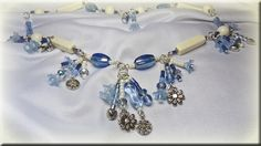blue and cream summery necklace