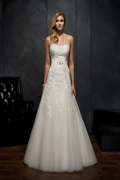 Kenneth Winston Style 1529 This incorporates pretty much all of my criteria. sweetheart, rouching, lace, bling, a line