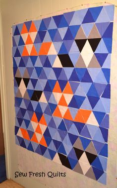 Sew Fresh Quilts: Equilateral Triangle Quilt Tutorial- I thought it was time to take on the Equilateral Triangle.  And while I am at it, I thought it would be fun to share my experience with a tutorial.  The sides of an Equilateral Triangle are all equal in length.  Hence the name.  And this type of triangle also has 60-degree angles at each corner.