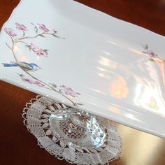 Items similar to Bluebird and Blossoms Dessert Plate Pedestal No. 060 (11 x 5 inches) on Etsy