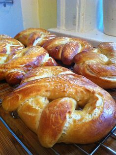 Homemade soft pretzels. Alton Brown recipe!