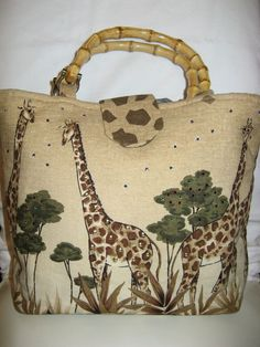 Very Cool Handmade Blingy Giraffe Purse with Bamboo Handles #Handmade #TotesShoppers
