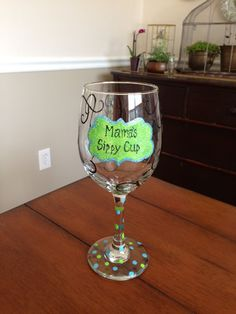 Mama's Sippy Cup Wine Glass by TulaTinkers on Etsy, $15.00