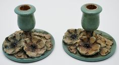 Wood and gesso candle holders circa 1920